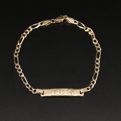 14K ID Bracelet with Figaro Chain