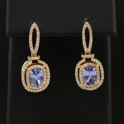 EFFY 14K Tanzanite and Diamond Drop Earrings
