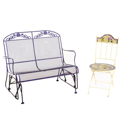 Purple Painted Patio Bench and Mosaic Folding Chair