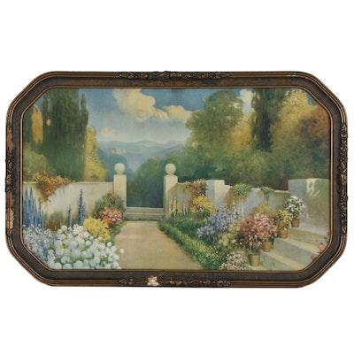 After Robert Arkinson Fox Offset Lithograph Garden Scene, 20th Century