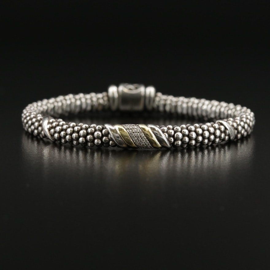 Lagos Sterling Diamond Bracelet with 18K Accents