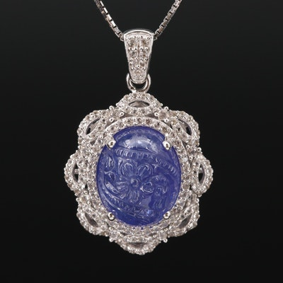 Sterling Silver Carved Tanzanite and Topaz Necklace