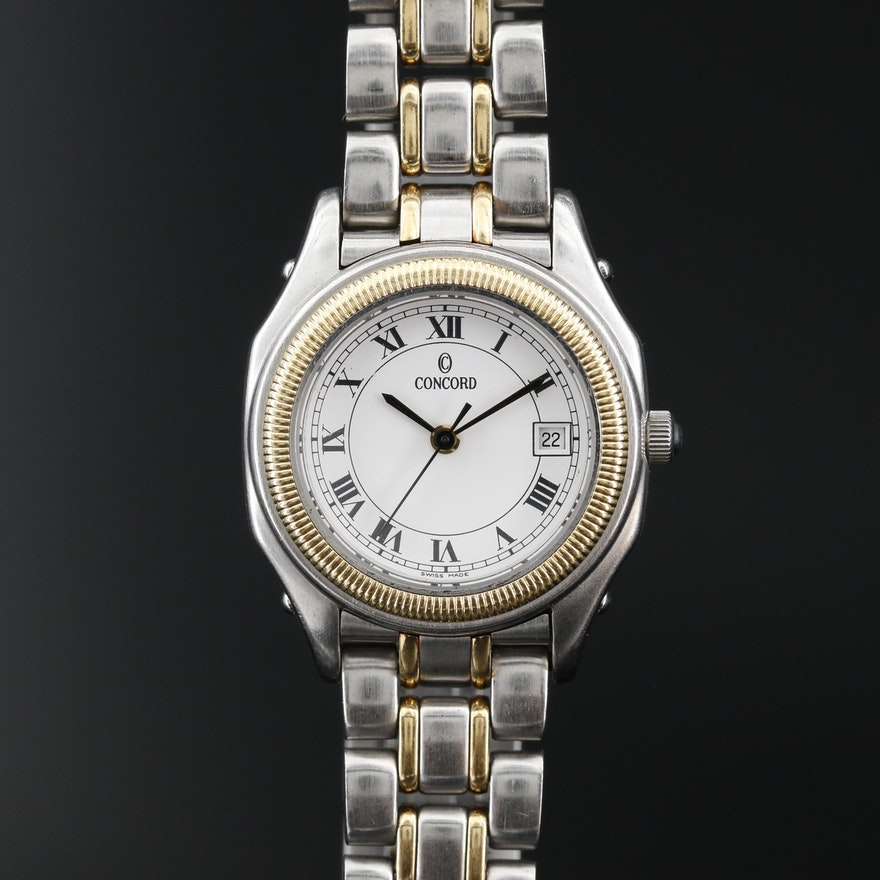Concord Steeplechase 18K Gold and Stainless Steel Quartz Wristwatch