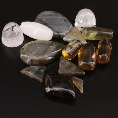 Mixed 373.88 CTW Gemstone Lot Including Labadonite, Quartz and Agate