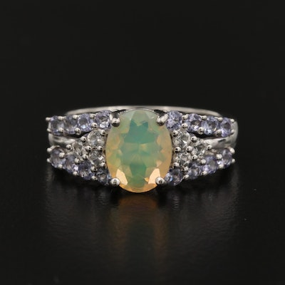 Sterling Silver Opal, Topaz and Tanzanite Ring