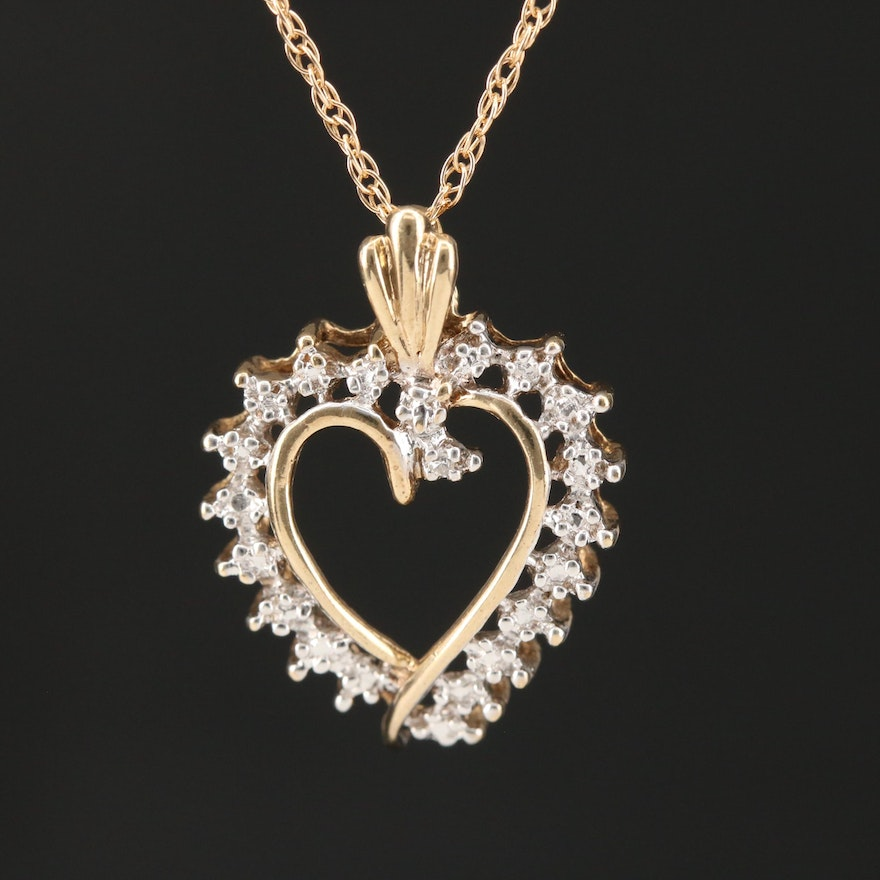 10K Diamond Heart Pendant on 14K Rope Chain Necklace