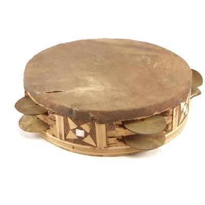 Folk Art Wood and Skin Tambourine