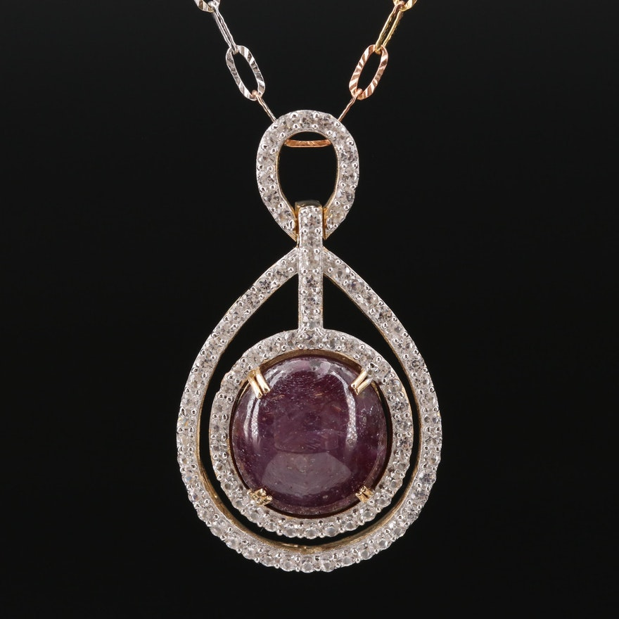 Sterling Silver Star Corundum and Sapphire Necklace