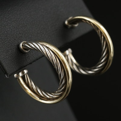 "David Yurman ""Classic Cable"" Sterling Silver Earrings with 18K Accents"