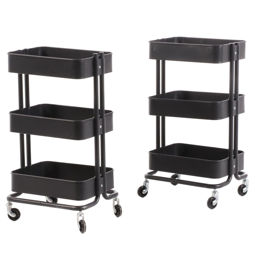 Three-Tiered Office Supply Movable Carts