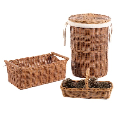 Natural Woven Wicker Hamper and Baskets