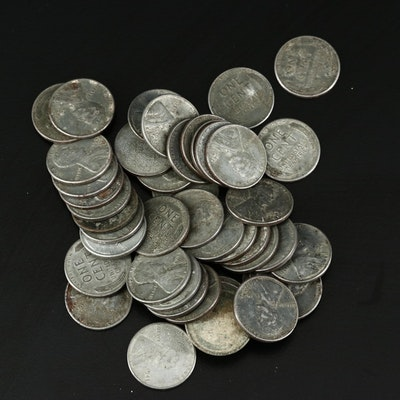 Fifty 1943 Steel Wheat Cents