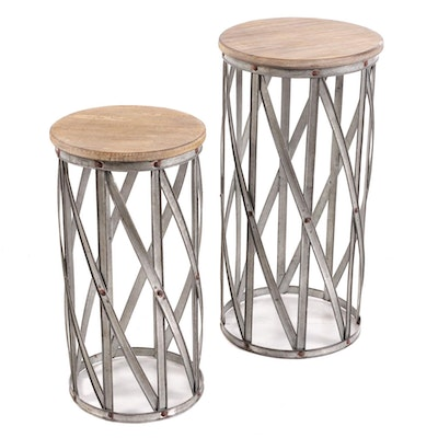 Galvanized Metal and Wood Nested Tables