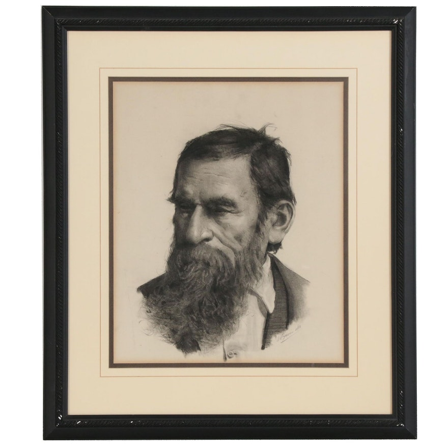 A. Magazzini Portrait Charcoal Drawing, Late 19th Century