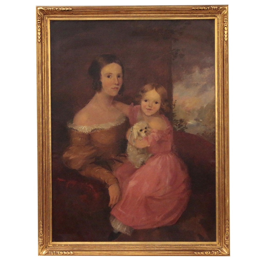 Portrait Oil Painting of Mother and Child with Dog