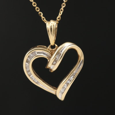 10K Diamond Heart Pendant on 14K Cable Chain