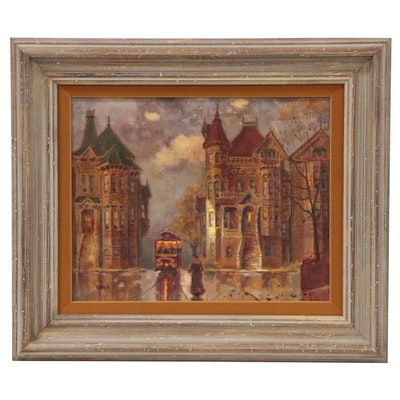 Oil Painting of Street Scene with Victorian Houses and Trolly