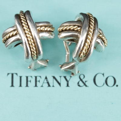 "Tiffany & Co. Sterling Silver Signature ""X"" Earrings With 18K Accents"
