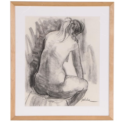 Betty Carmell Savenor Charcoal Figure Drawing of Female Nude