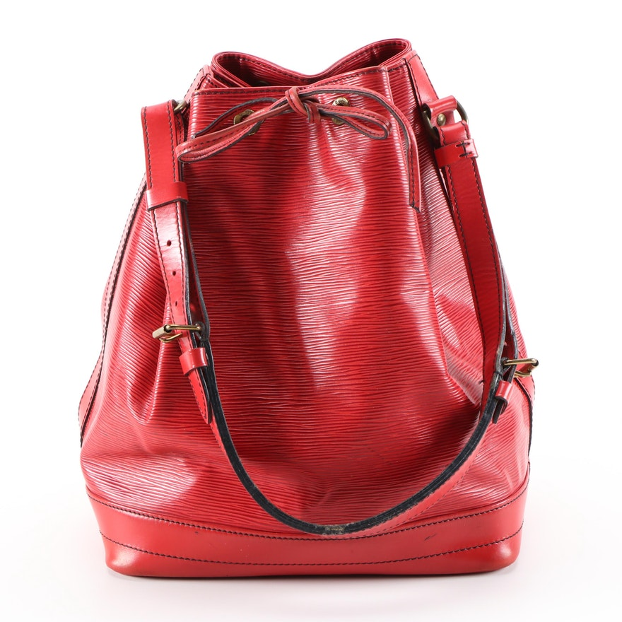 Louis Vuitton Noé Shoulder Bag in Castilian Red Epi and Smooth Leather
