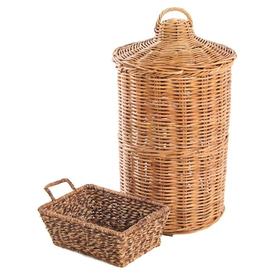 Natural Wicker Woven Lidded Hamper and Dual Handled Basket, Late 20th C.
