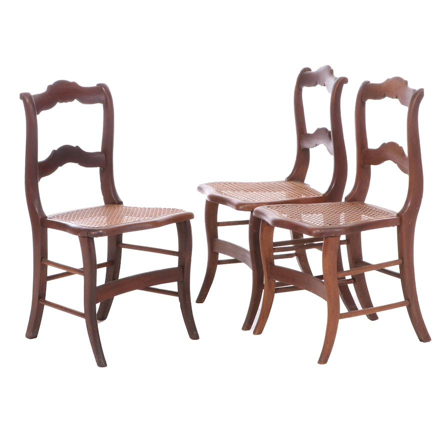 Three Victorian Walnut Side Chairs, Second Half 19th Century