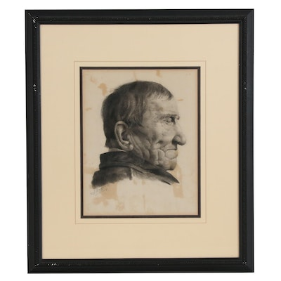 A. Magazzini Charcoal Portrait Drawing, Late 19th Century