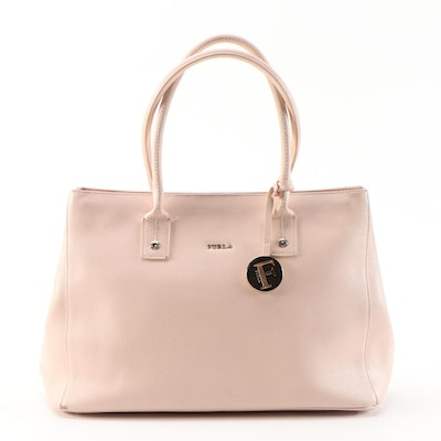 Furla Daisy Medium Tote Bag in Moonstone Pale Pink Saffiano Leather