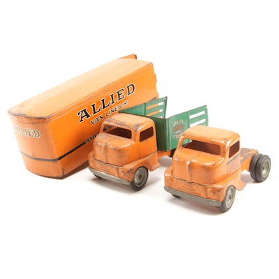 Tonka Toys Allied Van Lines Tractor Trailer and Utility Metal Toy Trucks, 1950s