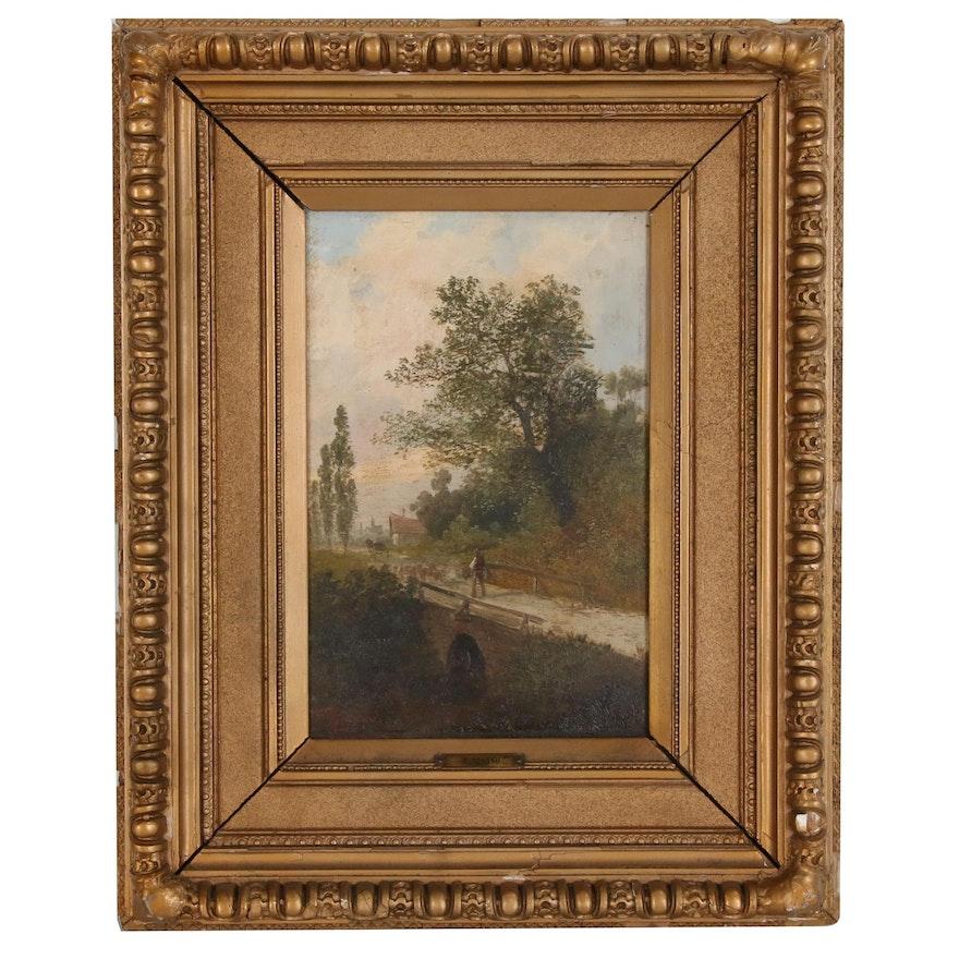 """F. Risano Landscape Oil Painting """"Le Soir"""""""