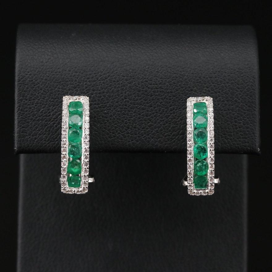 Sterling Silver Emerald J-Hoop Earrings with Cubic Zirconia Halos