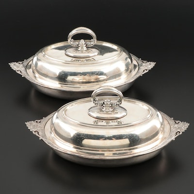 Tiffany & Co. Retailed Silver Plate Covered Vegetable Bowls