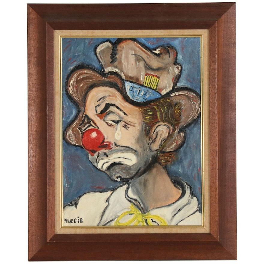 Portrait Oil Painting of Clown