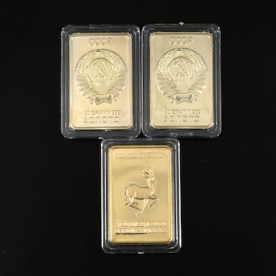 Three One Troy Ounce Gold Plated Layered Steel Ingots