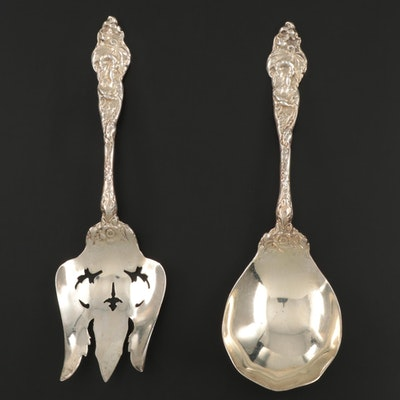 """Reed & Barton """"Les Six Fleurs"""" Sterling Silver Salad Serving Spoon and Fork"""