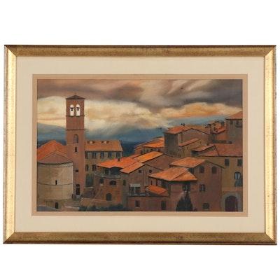 "John Sagartz Pastel Drawing of Village Scene ""Povera Assisi"""