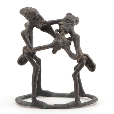 Ashanti Bronze Sculpture of Two Male Figures, 20th Century