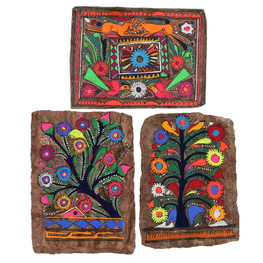 Central American Amate Bark Folk Paintings