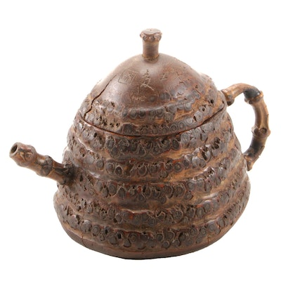 East Asian Hand Carved Wood and Bamboo Teapot