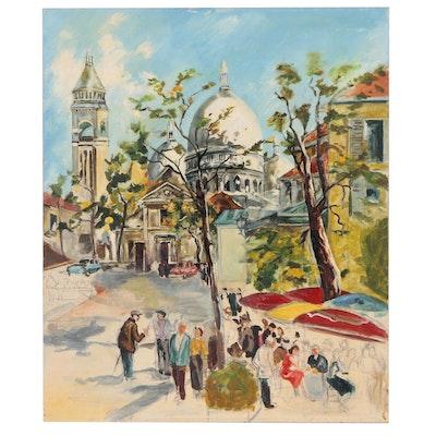 Parisian Street Scene Oil Painting and Le Sacré-Coeur
