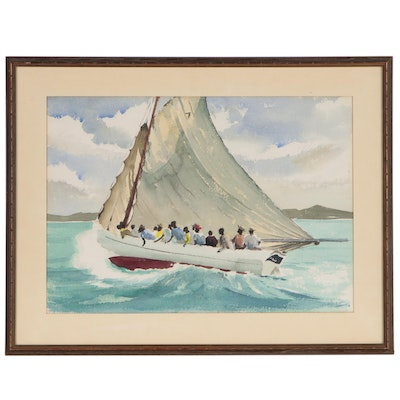 Watercolor Painting of Sailboat at Sea