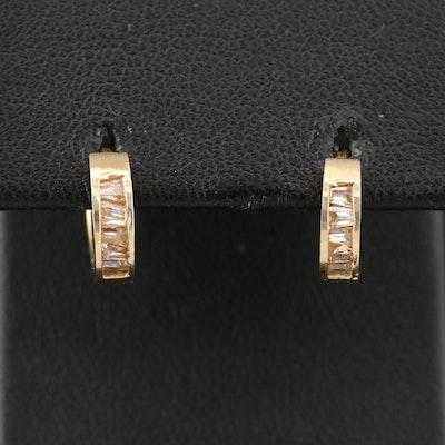 14K Cubic Zirconia Huggie Earring