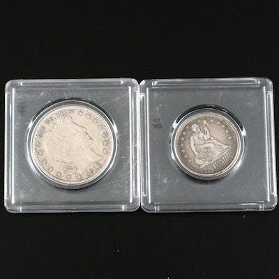 Seated Liberty Silver Quarter and Barber Silver Half Dollar