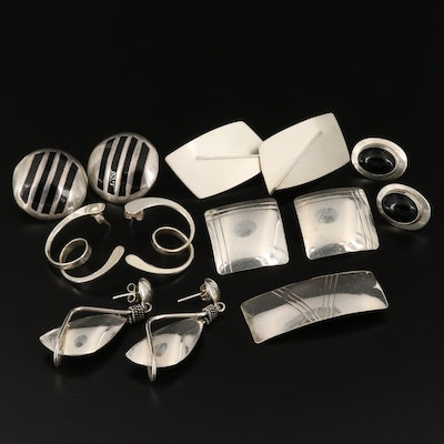 Assorted Sterling Silver Earrings with a Sterling Brooch