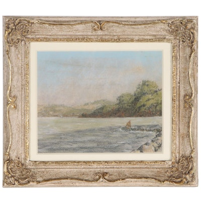 William Dohrmann Landscape Pastel Drawing of Coastal Scene