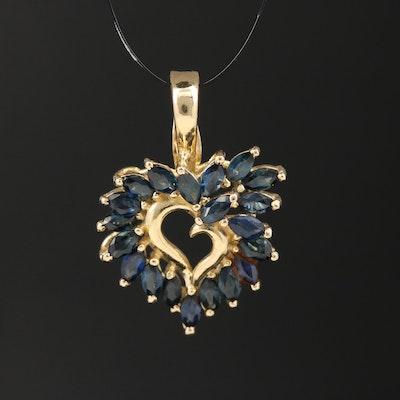 14K Sapphire Heart Enhancer Pendant