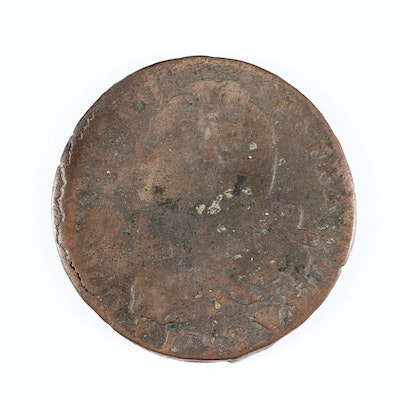 1793 France Louis XVI Two Sols Copper Coin