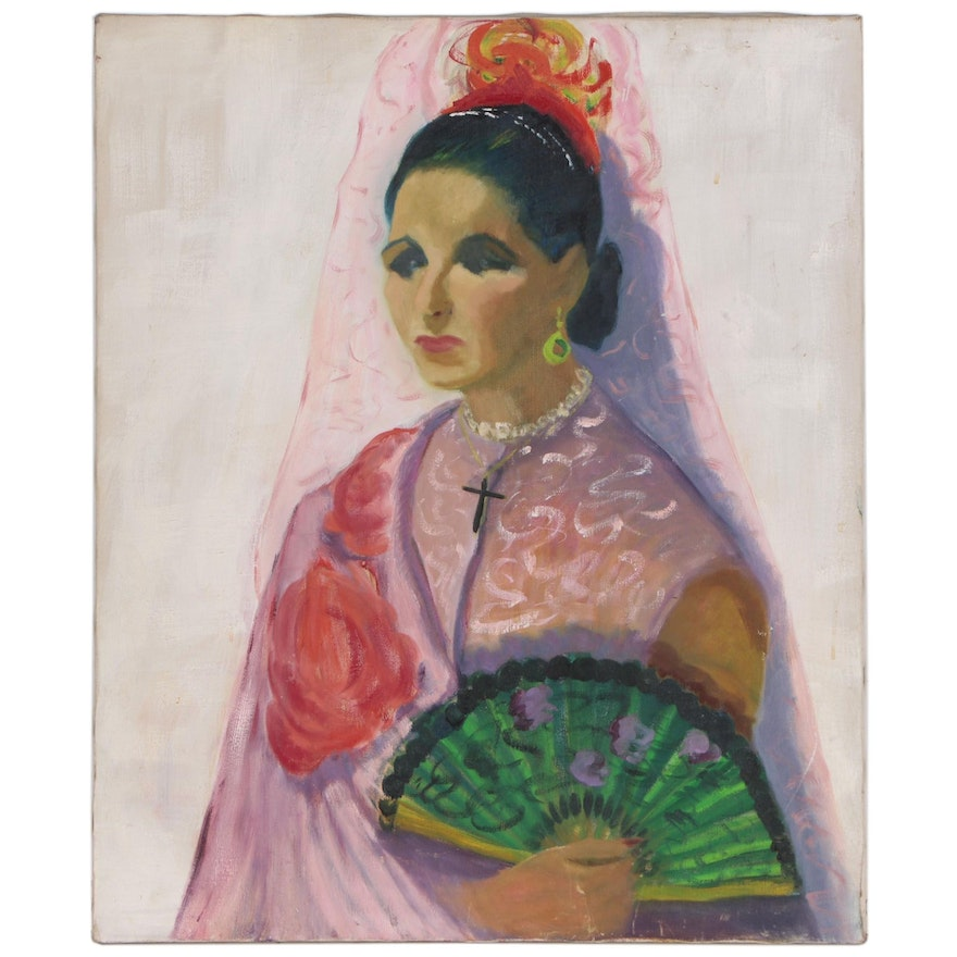 Portrait Oil Painting of Woman with Veil and Fan