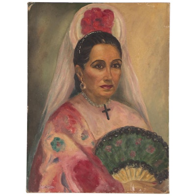Portrait Oil Painting of Woman with Fan