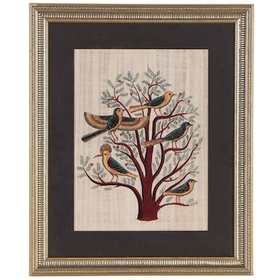 Folk Art Gouache Painting of Birds in Tree